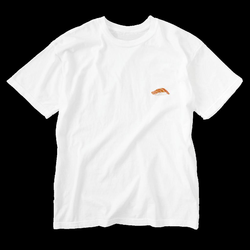 サーモンの寿司Tシャツ白