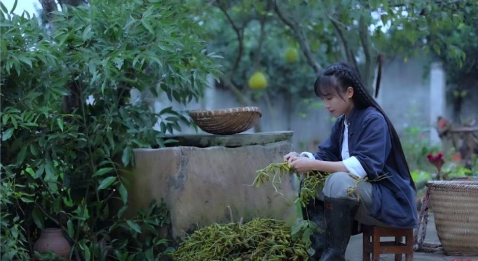 中国の美しい女性が田舎で料理を作る動画